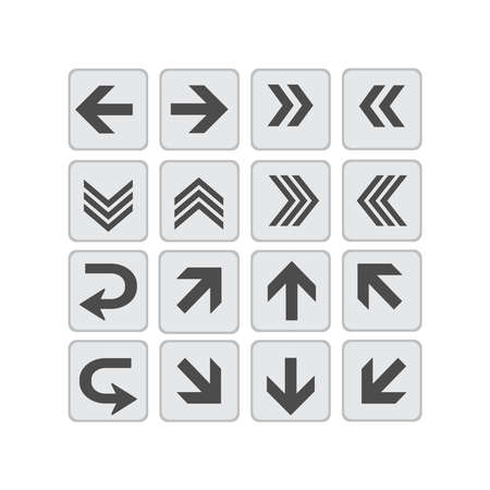 Large vector set of directional arrows on isolated