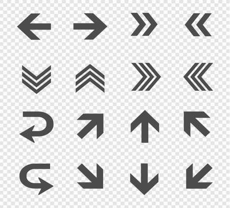 Large vector set of directional arrows on a transparent background. Up, down, left and right arrows
