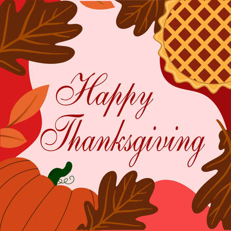 media sosial post with Happy Thanksgiving. Vector template with apple pie and gourd with oak leaves Ilustracja