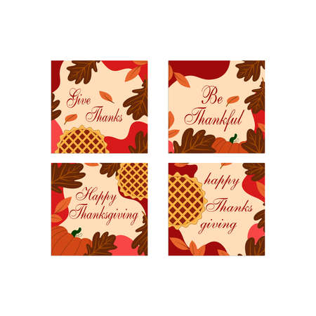 Thanksgiving media sosial posts in flat design Ilustracja