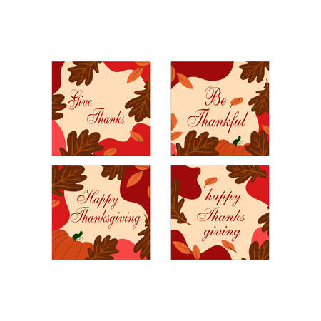 Thanksgiving design elements for poster with holiday traditional symbols.