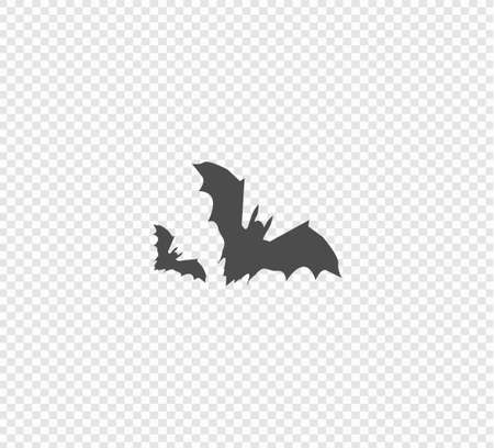 Halloween bat clip art illustration isolated on a white background. Gray flat vector illustration on transparent background - bat vector template