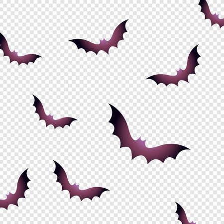 Halloween bat. flat vector illustration on transparent background - bat vector template. Happy halloween pattern Vettoriali