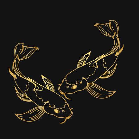 Set of Koi carp japanese symbol of luck fortune prosperity red and black dotted koi carp cartoon flat vector illustration isolated on black background Stock Illustratie