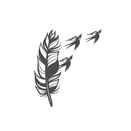 stylized feathers with scattering birds in the form of a tattoo