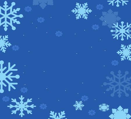 Snowflakes on blue sky - Christmas seamless background Illusztráció