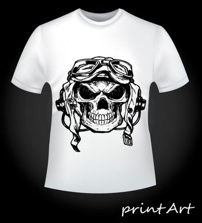 Print skull pilot on a T-shirt