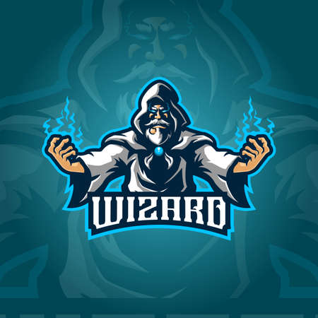 wizard mascot logo design vector with concept style for badge, emblem and tshirt printing. angry wizard illustration for sport and esport team.
