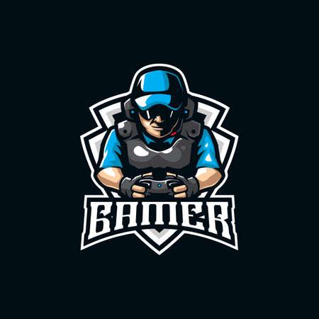 gamer mascot logo design vector with modern illustration concept style for badge, emblem and t shirt printing. gamer illustration for sport and esport team.