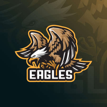 eagle mascot design vector with modern illustration concept style for badge, emblem and t shirt printing. angry eagle illustration for sport team.
