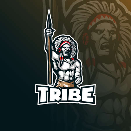 tribe mascot design vector with modern illustration concept style for badge, emblem and t shirt printing. indian tribe illustration for sport team.