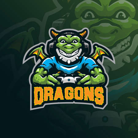 Dragon mascot logo design vector with modern illustration concept style for badge, emblem and tshirt printing. Dragon gamer illustration for sport and esport team.