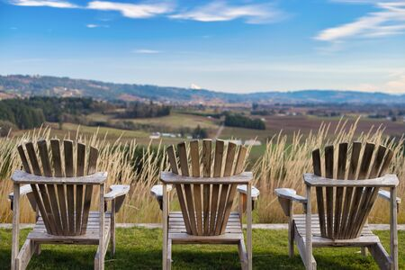 Lounge chairs overlooking scenic valley