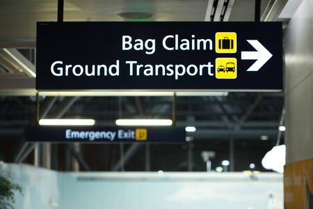 Airport Signage for Baggage Claim and Ground Transportation