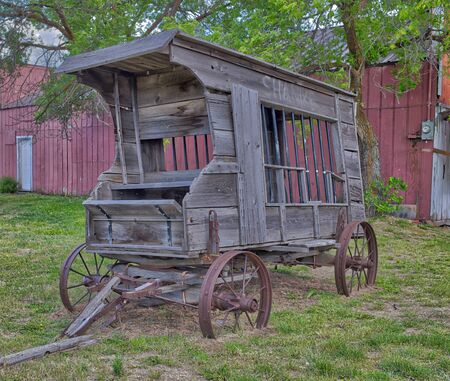 Antique Old West Prison Wagon. Shaniko, Oregon Ghost Town