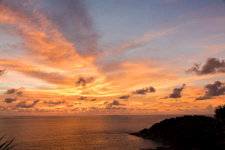Scenic, Dramatic Sunset over Sea - Phuket, Thailand photo