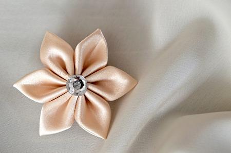 kanzashi: Wedding accessories: Handmade silk fabric flower