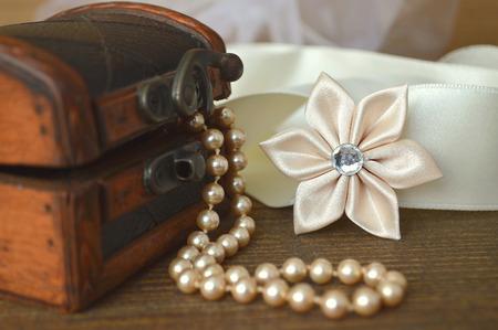 kanzashi: Wedding accessories: silk kanzashi flower and pearls