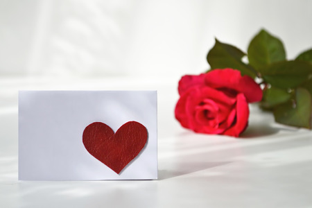 blank note: Empty greeting card with red heart on it and a rose