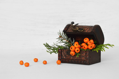 autumn arrangement: Autumn arrangement on light background Stock Photo