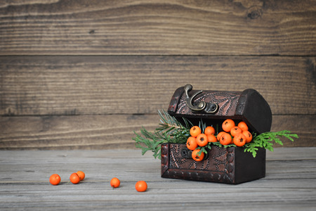 autumn arrangement: Autumn arrangement on wooden background