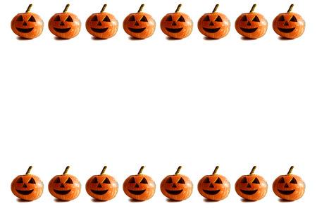 pumpkin border: White Halloween background with pumpkin border