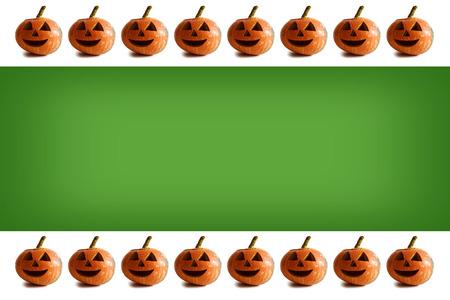 pumpkin border: Halloween background with pumpkin border
