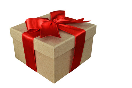 christmas present box: Brown paper gift box with red ribbon isolated on white background