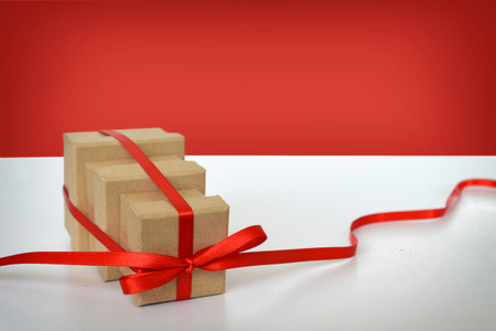 three gift boxes: Three gift boxes tied together