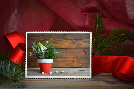 grunge frame: Vintage photo of natural Christmas decoration