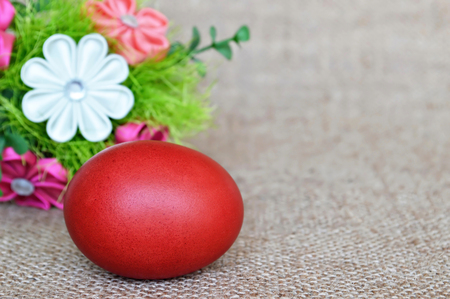kanzashi: Red Easter egg and fabric flowers
