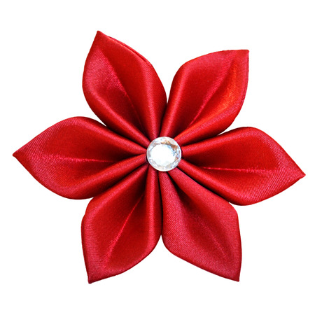 kanzashi: Handmade red fabric flower Stock Photo