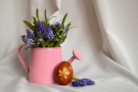 onion peel: Easter egg colored with onion peel and blue muscari flowers
