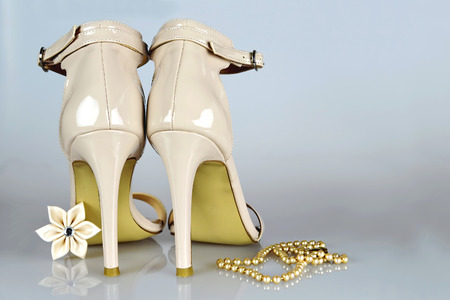 kanzashi: Wedding shoes and accessories Stock Photo