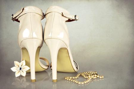 kanzashi: Wedding accessories on grunge background Stock Photo