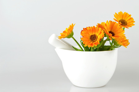 Marigold flowers in a mortar on light background Stock Photo