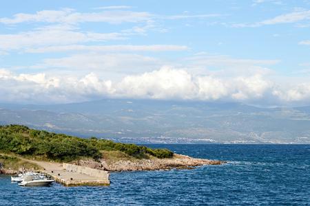 Adriatic Sea: Dock in village called Risika, Island of Krk, Croatia Stock Photo