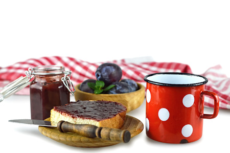 Plum jam on the toast Stock Photo