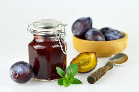 purple leaf plum: Plum jam in the jar Stock Photo