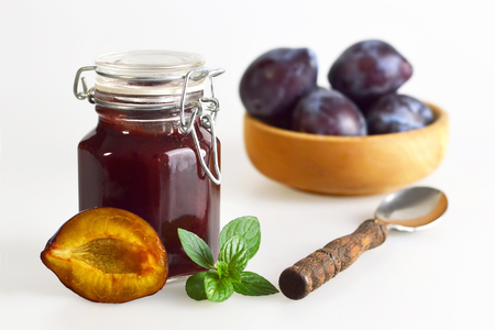 purple leaf plum: Plum jam Stock Photo