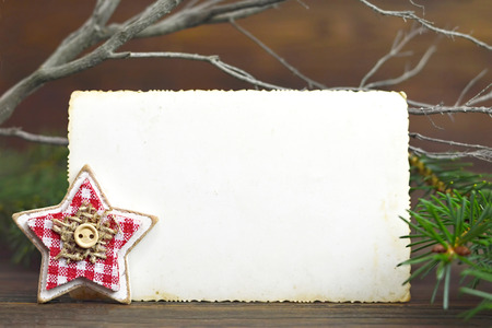Christmas vintage photo frame and star ornament Stock Photo