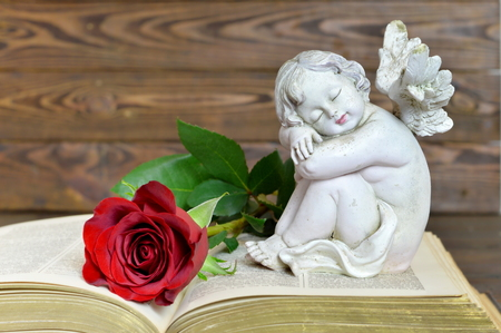Angel and red rose on the book, wooden background