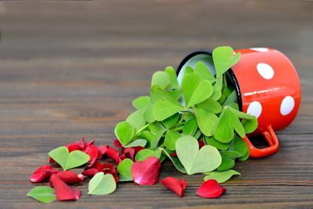 false shamrock: Heart shaped leaves and red rose petals on wooden background