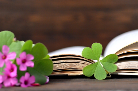false shamrock: Mothers Day flowers with heart shaped leaf and opened book