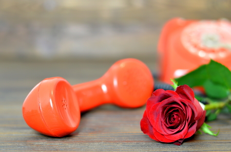 Valentines Day card: Red rose and vintage telephone