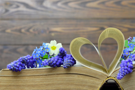 heart shaped: Happy Fathers Day card:  Flowers and heart shaped book pages Stock Photo