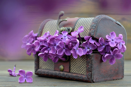 Tarjeta de aniversario con flores lilas en cofre del tesoro vintage