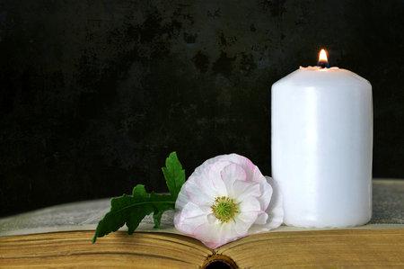 흰색 촛불, 꽃 및 그런 지 배경에 책 스톡 콘텐츠