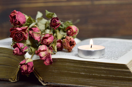 Candle and dry roses Stock Photo