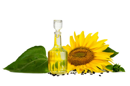 Sunflower oil isolated on white background